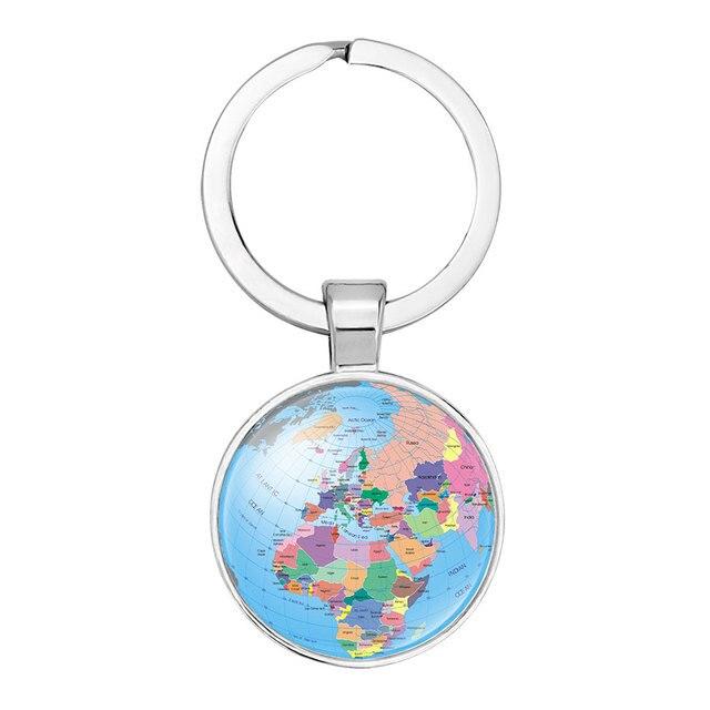 Ningxiang silver color globe camera earth world map key chain glass ningxiang silver color globe camera earth world map key chain glass cabochon key ring car key gumiabroncs Gallery