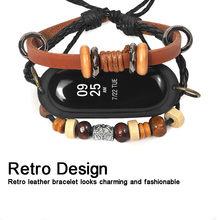 Fashion Leather Beading Bracelet Retro Strap Classic Weave Braided Replacement For Xiaomi Mi Band 3 Accessories Droship 10Jul 4(China)