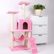 60*55*140cm Cat Climbing Tree Tower Kitten Scratchers Cat Wood Jumping Scratching Toys with Ladder Pet Climb Frames CW040