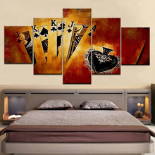 Modern HD Print Painting Modular Pictures 5 Panel Playing Cards Framework Wall Art Poster Home Decor Living Room Canvas