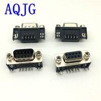 100 PCS DB9 Femelle Mâle PCB Montage D-sub 9 broches PCB Connecteur RS232 Connecteur degrés bent aiguille DR9 AQJG