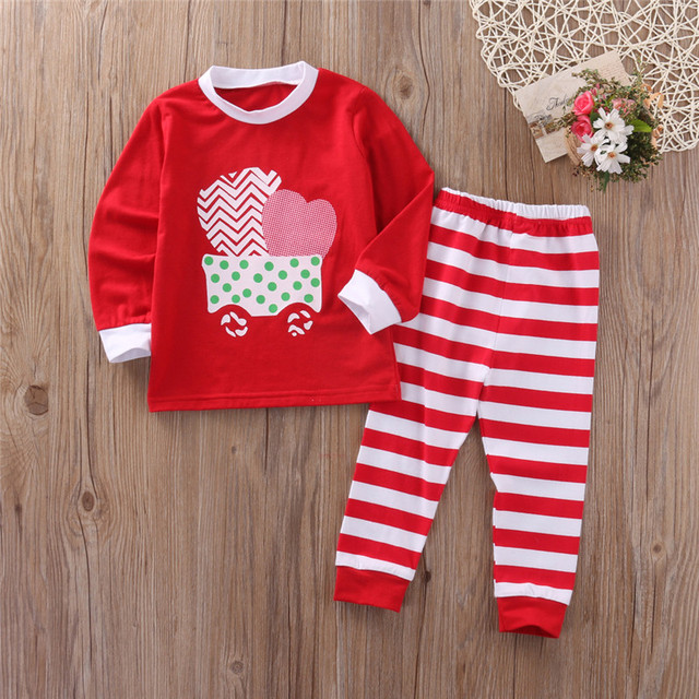 8284313b9f15 Children Boy Girls Pajama Sets Cotton Family Clothes Wear Cute Pink Red  Sleepwear Sets Striped Casual Christmas Pajamas