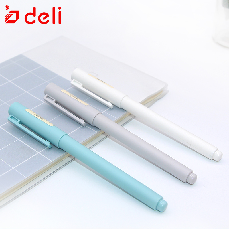 Deli Gel-Ink Pen 12PCS Set Black Ink Pens for Student Writing Exam Pen Stationery School & Office Supplies 0.5mm Plastic Gel Pen 3pcs set kacogreen liquid ink gel pen plastic student office writing pens black blue red ink school supplies stationery