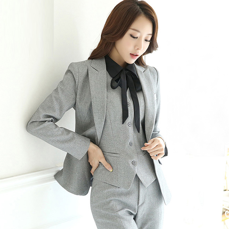 Spring Autumn Women Interview Formal Work Office Long Sleeve Pant Suits OL Slim One Button Vest Business Suit 1