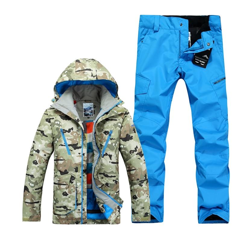 GSOU neige ski costumes pour hommes camouflage snowboard vestes pantalon hommes hiver ski de montagne costumes veste vêtements de ski hommes