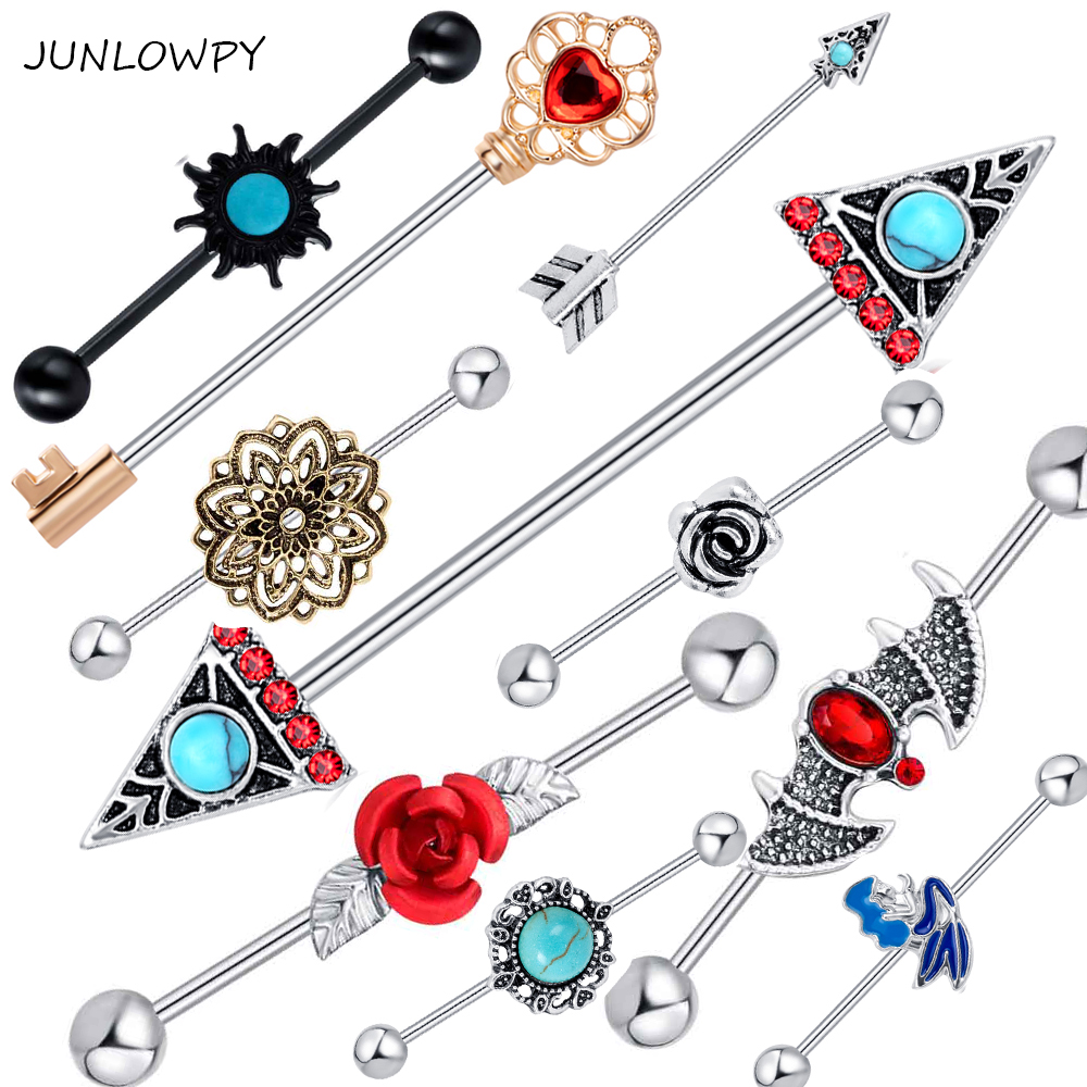JUNLOWPY Industrial Barbell Earring Tribal Arrow Cartilage Piercing 14G Stainless Steel Lotus Long Screw Helix Ear Body Jewelry