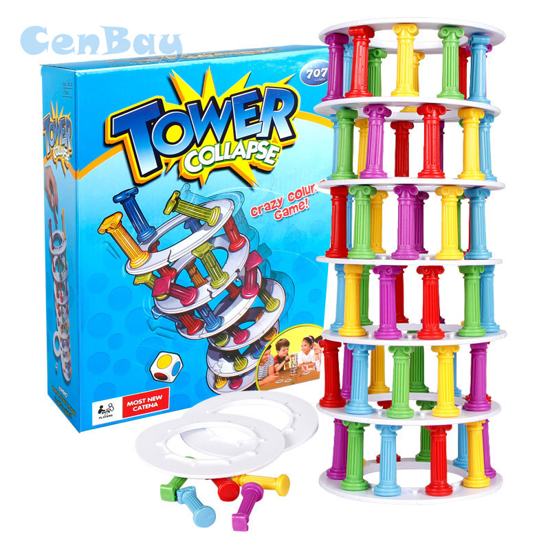 Tower Collapse Game Baby Stacking Toy Tower Jenga Game Stacker Plastic Building Blocks Domino Challenge Game for Family Fun Toys