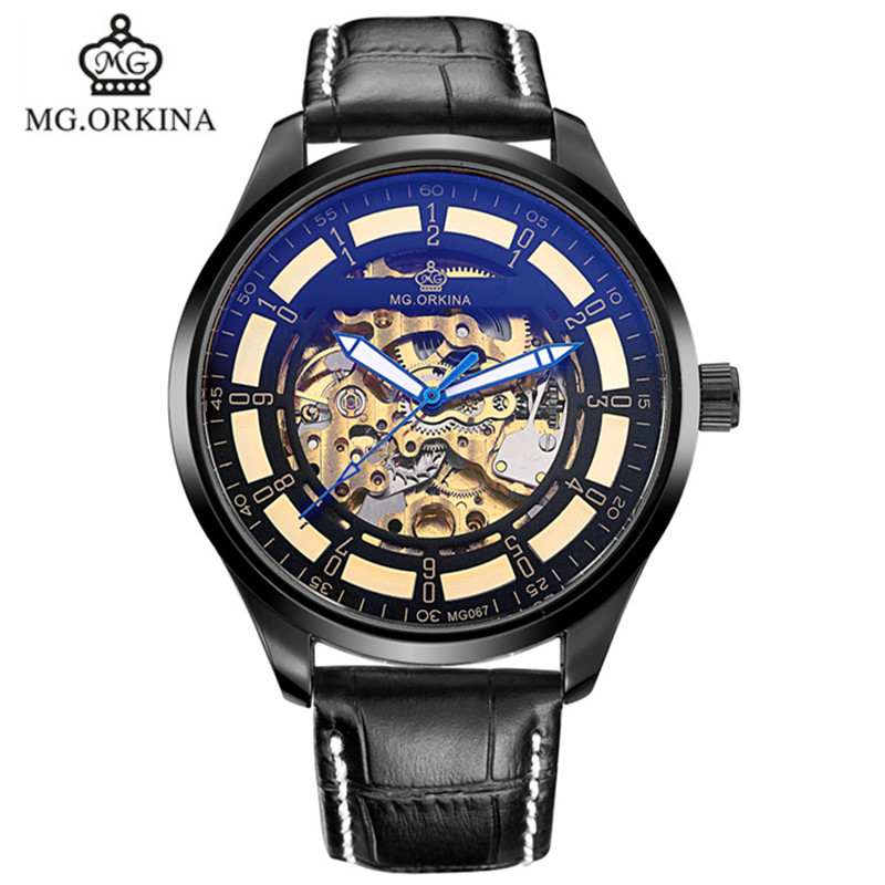 2016 new authentic ORKINA keel leather automatic mechanical watch fashion man brand luxury business watch MG067