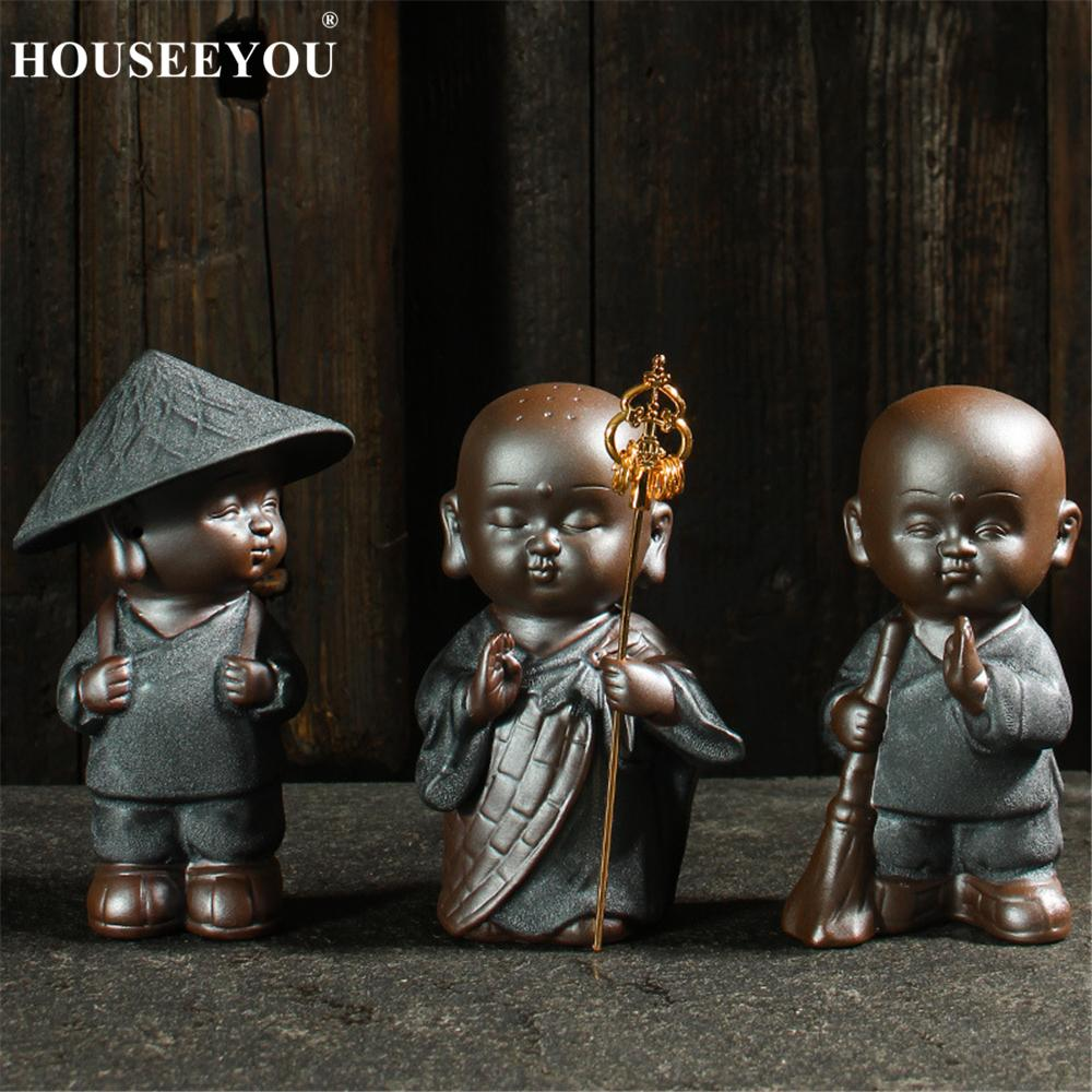 US $23 99 20% OFF|Exquisite Kung Fu Buddhism Tea Pets Ornaments Purple Sand  Tea Tray Little Monk Statues Sculptures Chinese Tea Accessories Set-in Tea