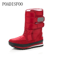 POADISFOO Snow Boots 2017 Winter Fashion New Women Snow Boots 7 Color Optional Casual Cotton Boots