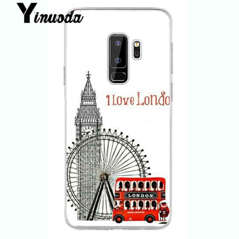 Yinuoda london bus england telephone  Smart Cover Transparent Soft Shell Phone Case for samsung galaxy S7 edge S6 edge plus S5