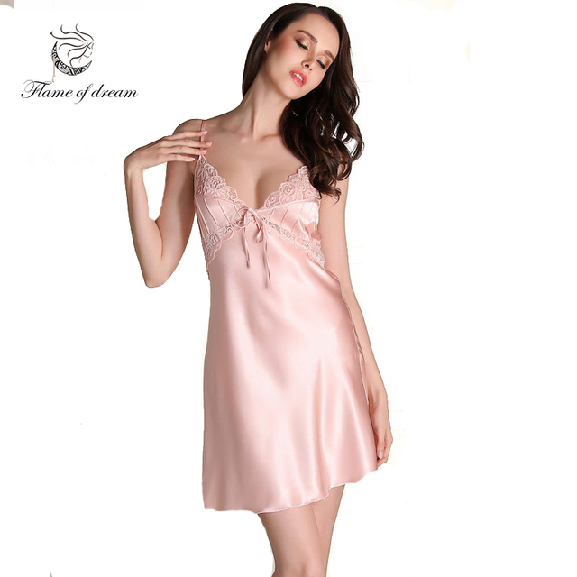 Satin Night Dress Nightgowns Hot Sleep Dress Silk Nightgown Luxury ...