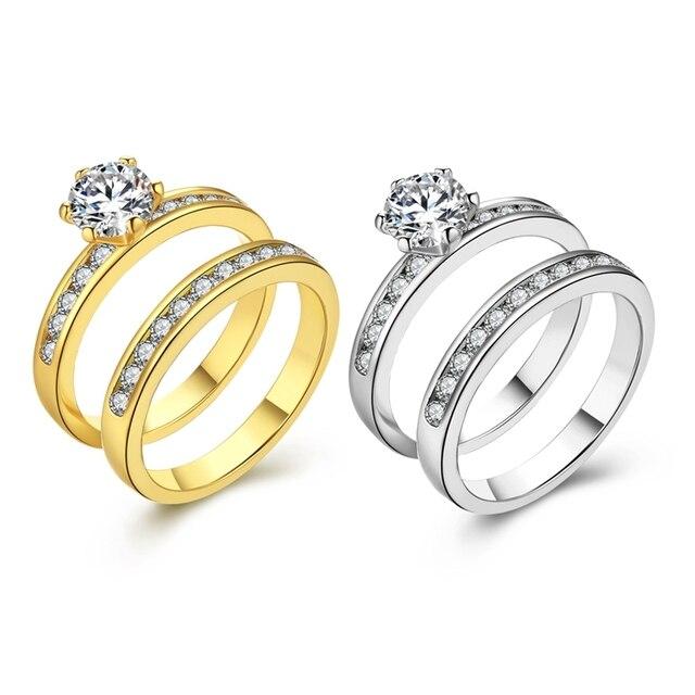 Zr433 Neue Mode Weiss Gelb Gold Farbe Kristall Pflastern Zwei Ringe