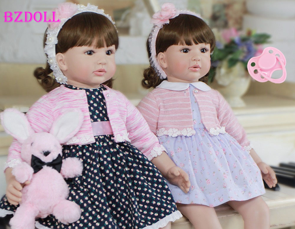 60cm Silicone Reborn Toddler Toy Lifelike 24 Vinyl Princess Girl Baby Dolls Lovely Kids Birthday Gift