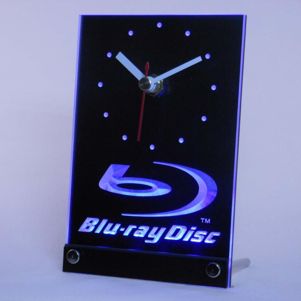 tnc0430 <font><b>Blu-ray</b></font> Disc Logo Table Desk 3D LED Clock
