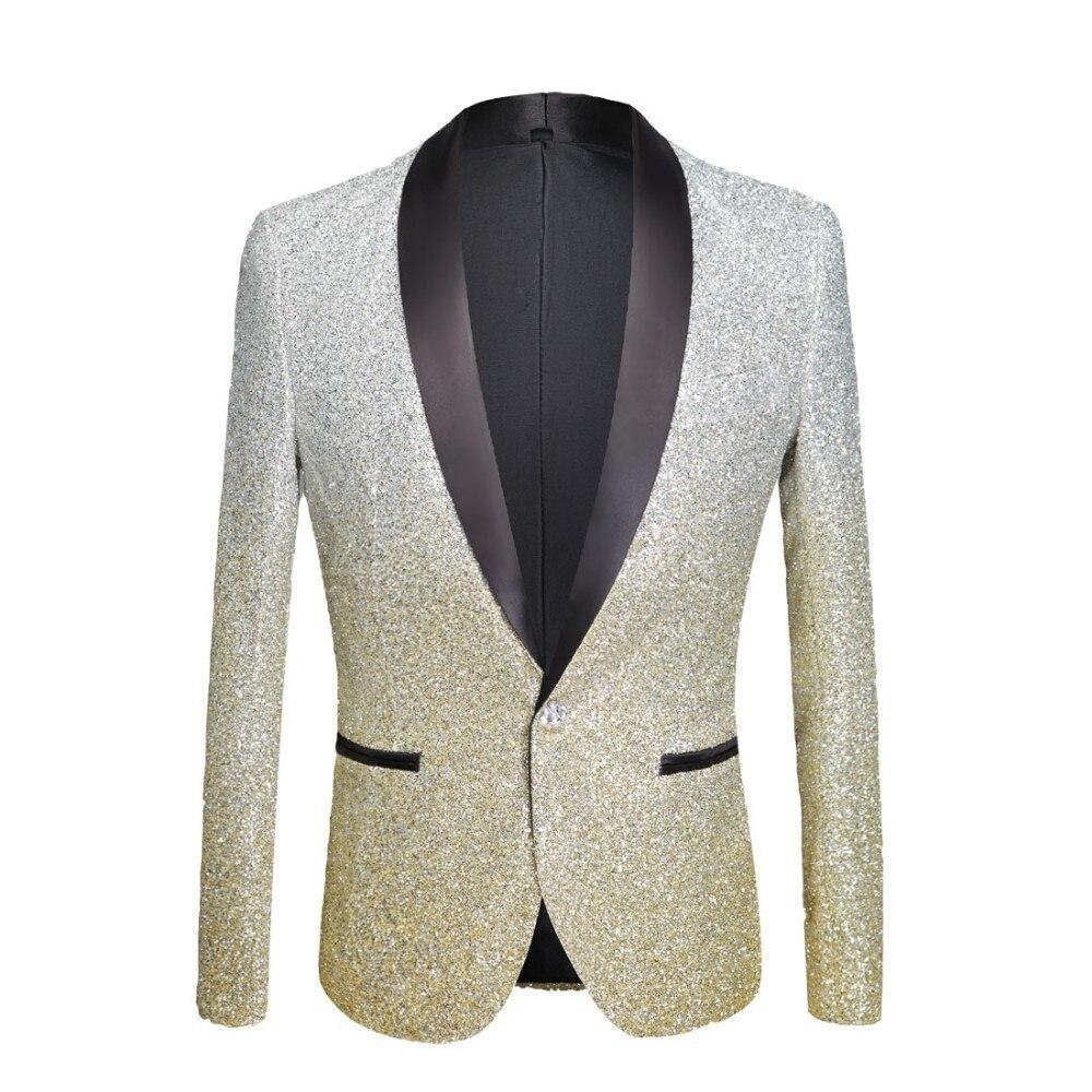 PYJTRL Мужская мода градиент цвет блестящие косметическая пудра цвета: золотистый, серебристый розовый шампанское синий черный Slim Fit Блейзер