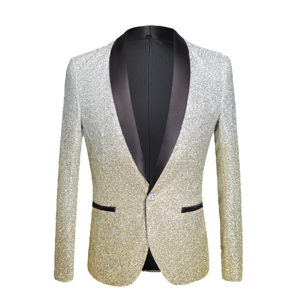 PYJTRL Hommes Gradient De Mode Couleur Brillant Poudre Or Argent Rose Champagne Bleu Noir Slim Fit Blazer Costume de Chanteur de Scène Veste