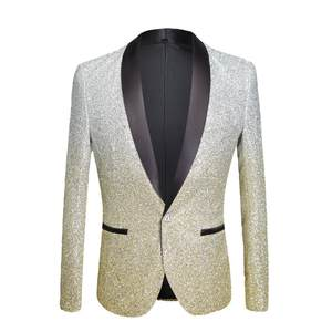 PYJTRL Mens Black Slim Fit Blazer Stage Singer Suit Jacket