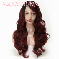 MERISI HAIR Synthetic Lace Front Wig Long Wavy Ombre Red Heat Resistant Hair Average Size Wigs For Black Women Daily