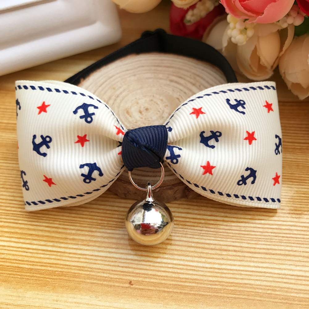 Bowknot Metal Bell Pendant Fashion Printed Pet Dog Cat Puppy Bow Tie Collar