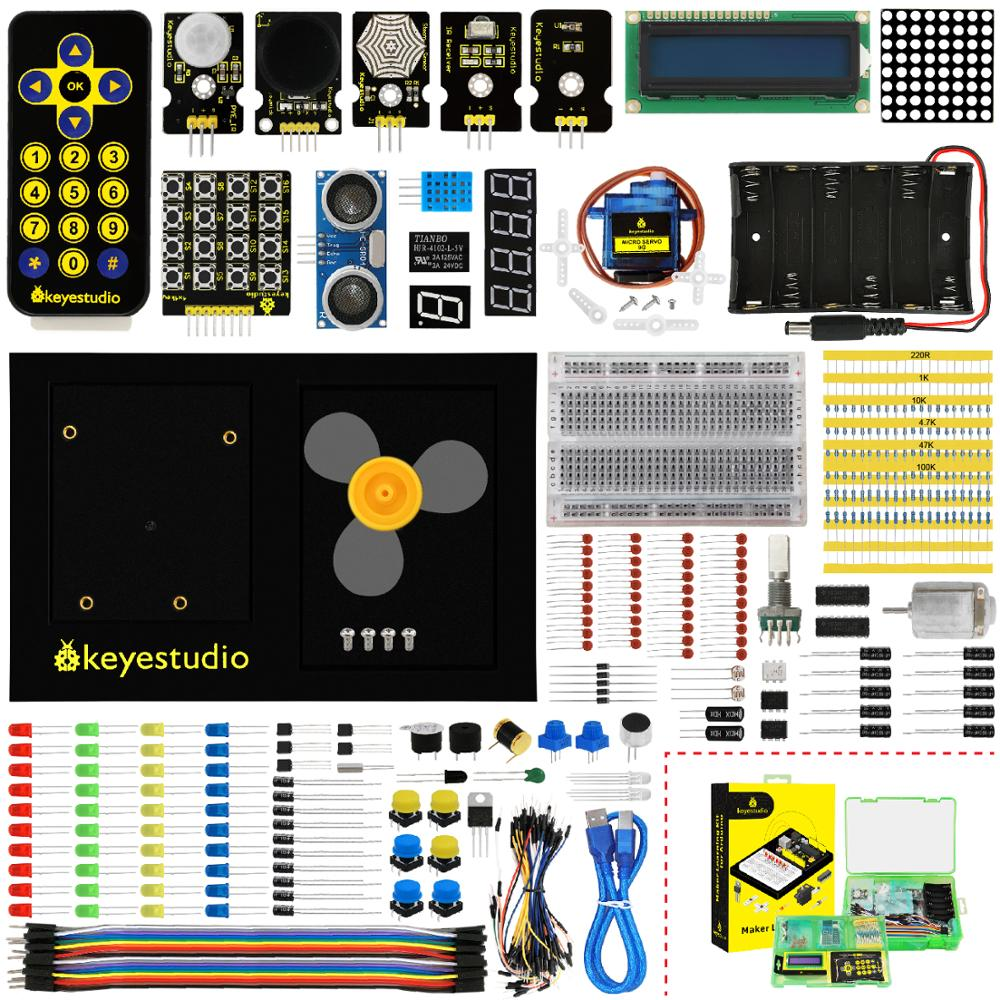 For Arduino Starter W/gift Box+uno Platform Open-Minded Keyestudio Maker Learning Kit/starter Kit no Unor3 Board 1602 Lcd+servo+leds+pdf