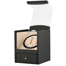 Black Drawer Type Watch Winder US/UK/AU/EU Plug Wooden Shaker Holder Automatic Winding Jewelry Storage Boxes