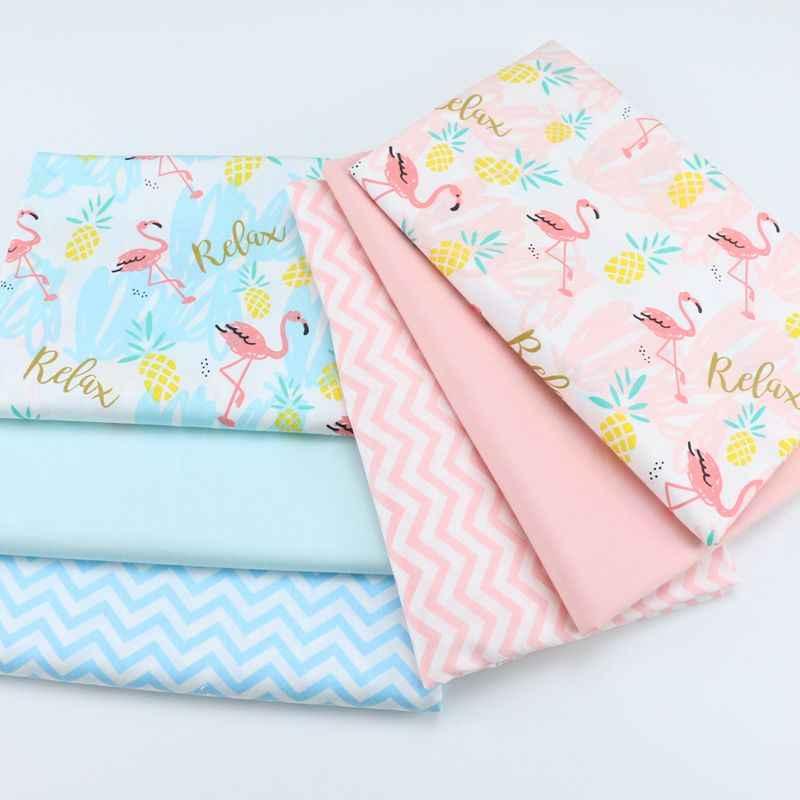 160 см * 50 см хлопковая ткань свежий мультфильм Розовый Синий Фламинго и ананасы шеврон ткани для DIY Детская кроватка Подушка швейная ткань
