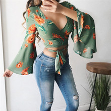 Summer Boho Blouse Bow Tie Crop Sexy Women Shirt Floral Prin