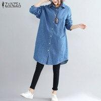 S 5XL ZANZEA Women Lapel Neck Long Sleeve Pockets Solid Loose Long Shirt Cowboy Blusas Buttons