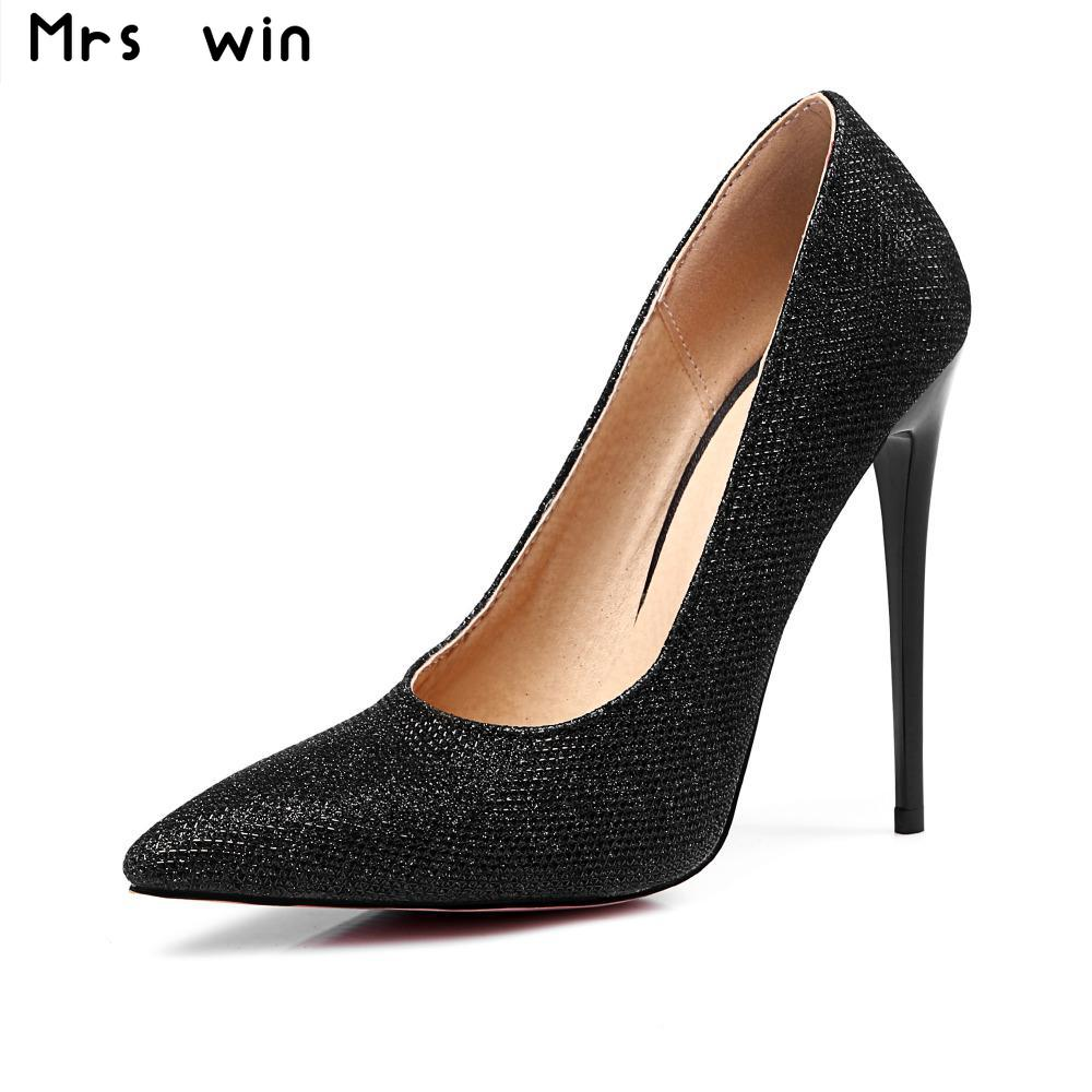 Brand New 2017 Women's Super High Heels Women Pumps Sexy Thin Heel Pointed Toe Shoes Woman Wedding Shoes Plus Size 34-43 bowknot pointed toe women pumps flock leather woman thin high heels wedding shoes 2017 new fashion shoes plus size 41 42