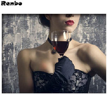 Bar Wall Art 5d Diamond Painting Beauty Nordic Poster Party Red Wine Diamond Embroidery Stitch Rhinestones Pictures rammstein(China)