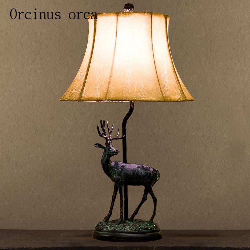 Amerikaanse Herten Vormige Lamp Slaapkamer Bedlampje Dorp Retro Eenvoudige Europese Stijl Chinese Stijl Woonkamer Lamp Lamp