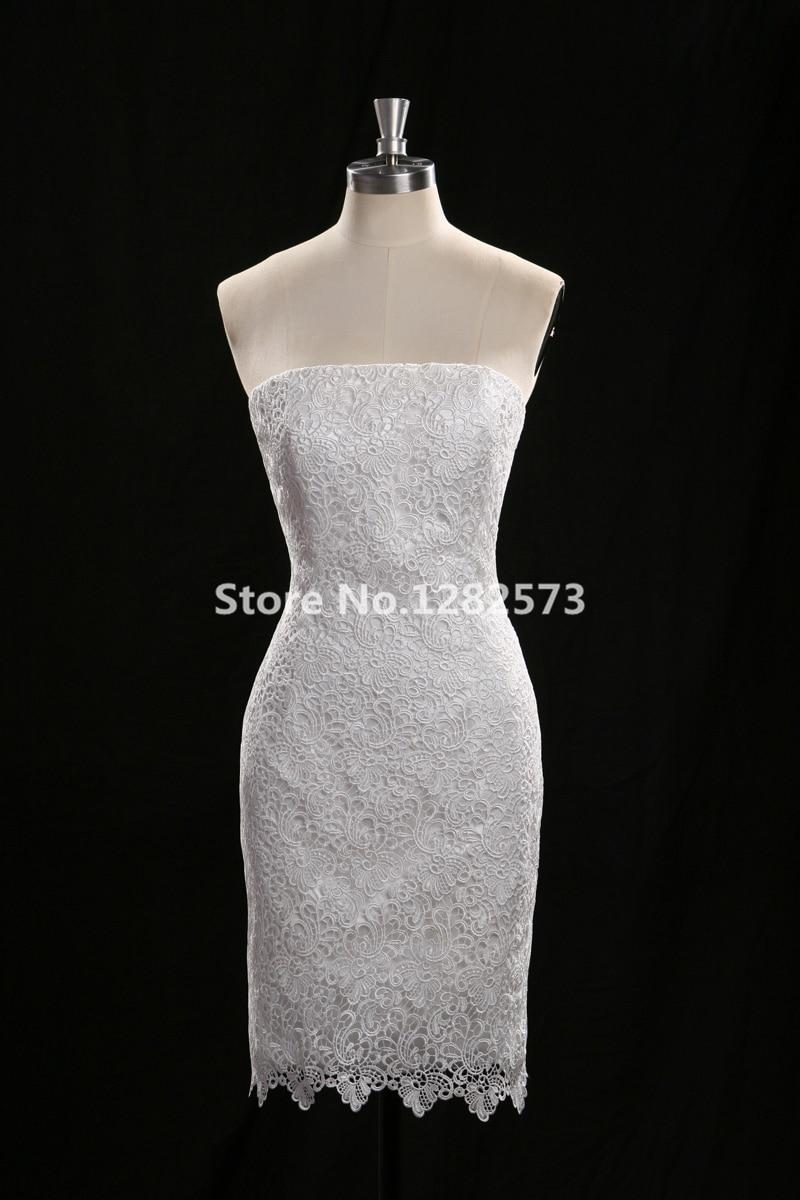 Günstige Simple White Wedding Dress Kurze Brautkleider Spitze ...