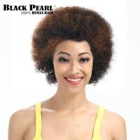 Siyah Inci Kısa Kıvırcık Saç Siyah Kahverengi Peruk Remy Kısa Insan saç Siyah Kadınlar Için Ucuz Parti Tam Peruk Afro Peruk Perruque