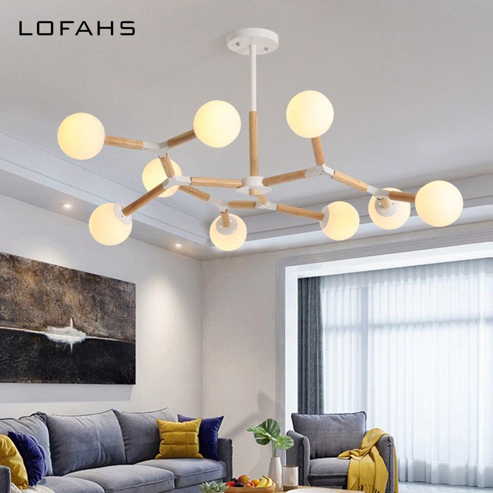Moderne Bois lustres pour salle à manger salon chambre salon loft Déformable lustre luminaire Avec boule de verre QDH9069