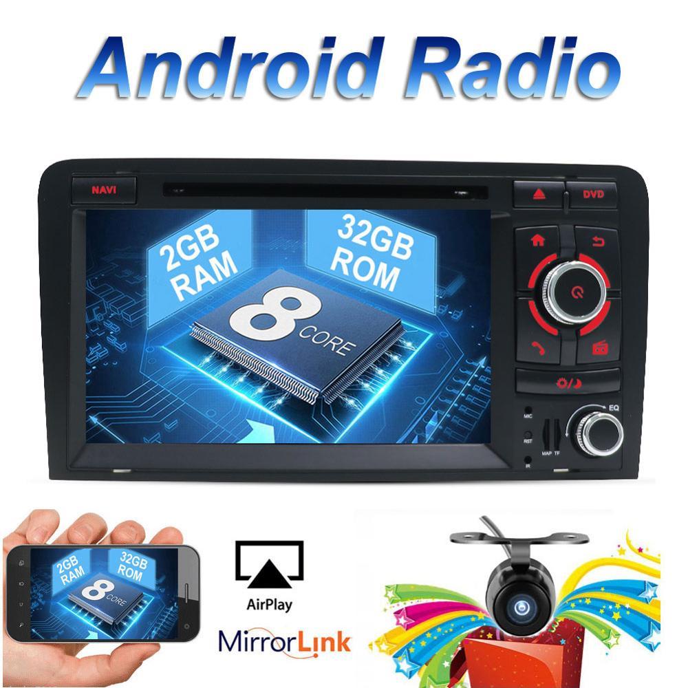 32G ROM Octa Core Para Audi A3 2Din 8 P 2003-2011 Multimedia Carro DVD Android 8.1 Autoradio GPS Câmera de Visão Traseira OBD Apoio DAB 4G