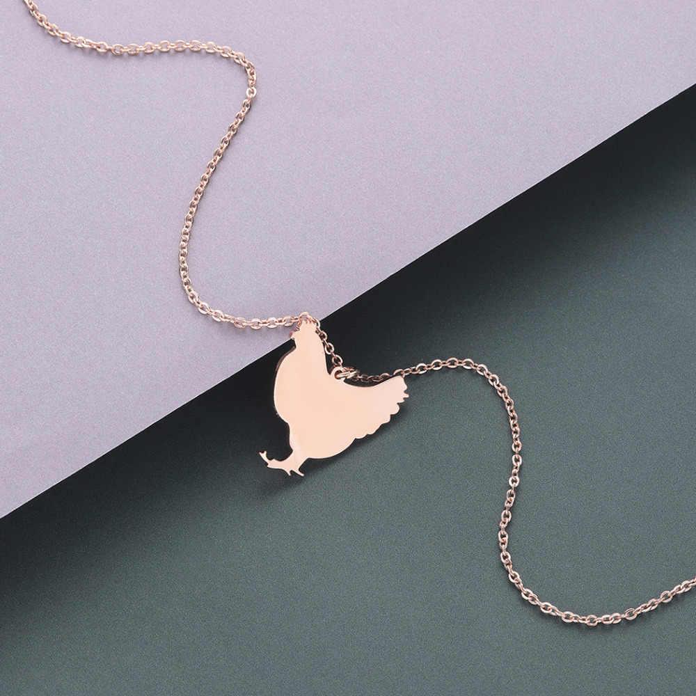 QIAMNI Cute kurczaka wisiorek naszyjnik ze stali nierdzewnej w obiekcie zwierząt gospodarskich naszyjnik biżuteria Party prezent minimalistyczny urok dla kobiet mężczyzn