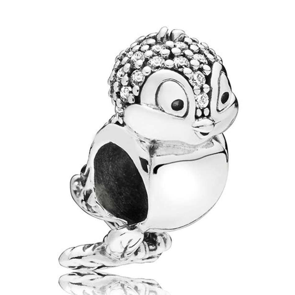 Authentic 925 Sterling Silver Bead Pássaro da Branca de Neve Com Crystal Clear Charme Fit Pandora Pulseira DIY Jóias