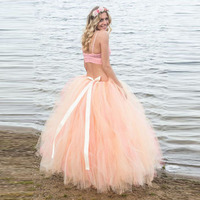 Lush Peach Tulle Ball Gowns Tutu Skirts For Women To Maternity Photoshoot With Sash Ribbon Long Tulle Skirt Pregnant Pregancy