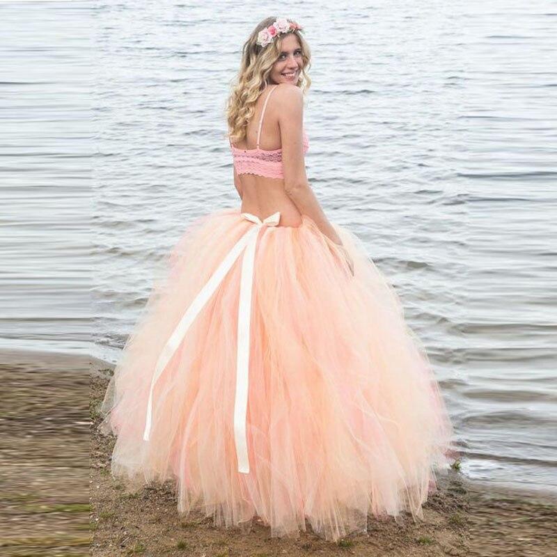 Luxuriante Peach Tulle Robes De Bal Tutu Jupes Pour Femmes À Photoshoot Avec Sash Ruban Long Tulle Jupe Enceinte De Maternité Pregancy