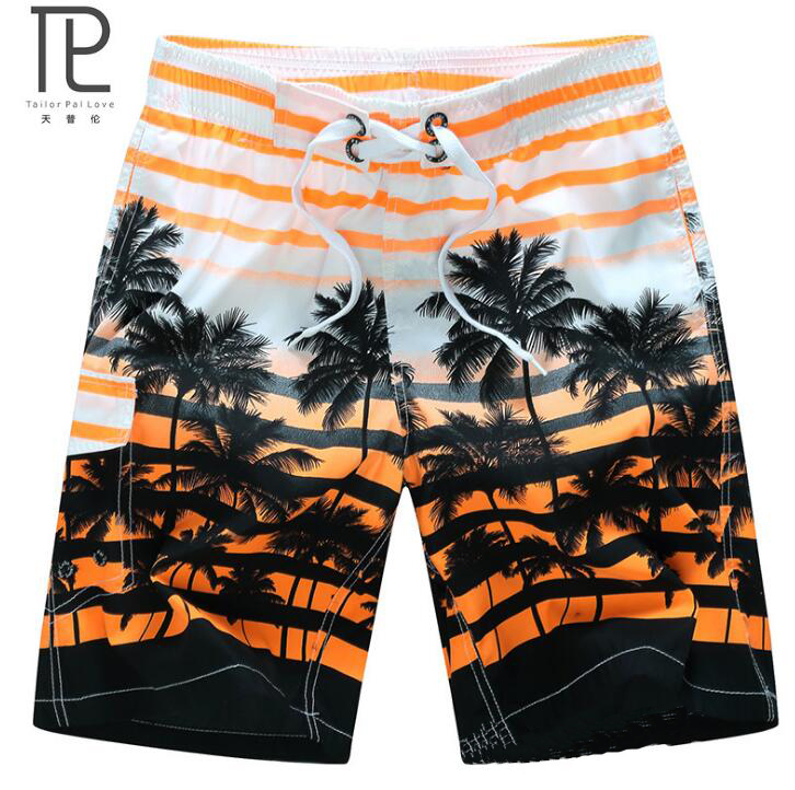 Tailor Pal Love Quick Dry Men Shorts Brand Summer Casual Clothing Coconut Trees Swimwears Beach Shorts