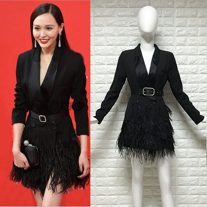 2019 New Xu Qing Tang Yu Star with Black Windbreaker Dress Autumn Feather Fringed Suit Woman Winter black Dress Suit Jackets jeans con blazer mujer