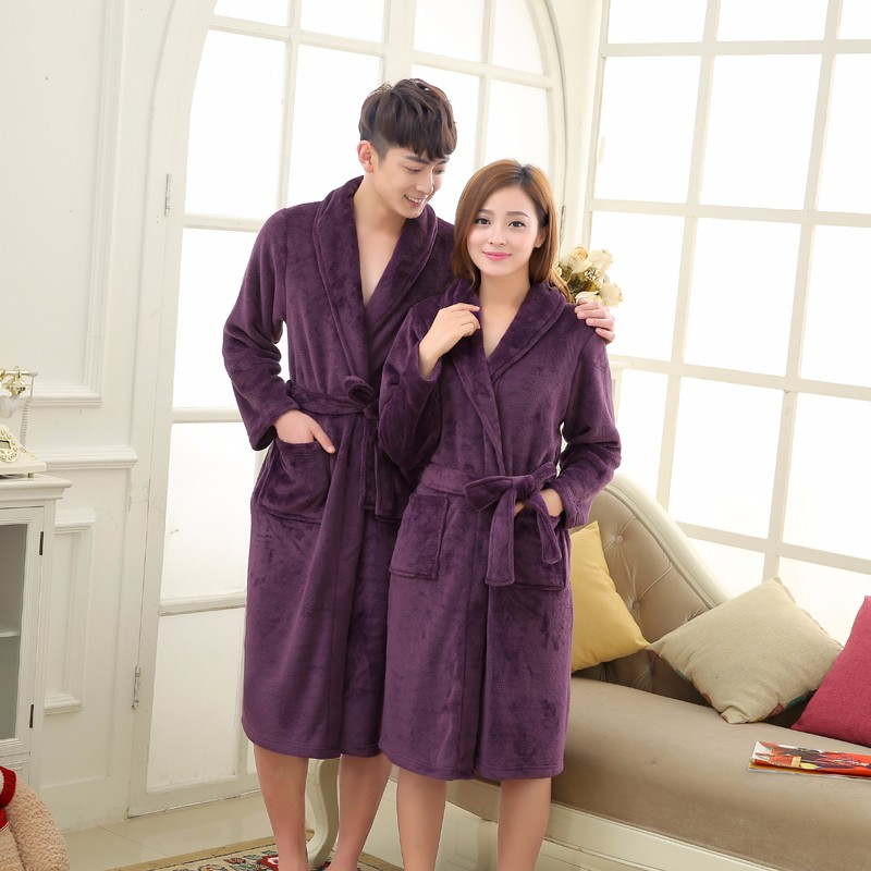 Unisex Mens Women\'s Long Polyester Sleep Lounge Robes RBS-C LYQ114 34