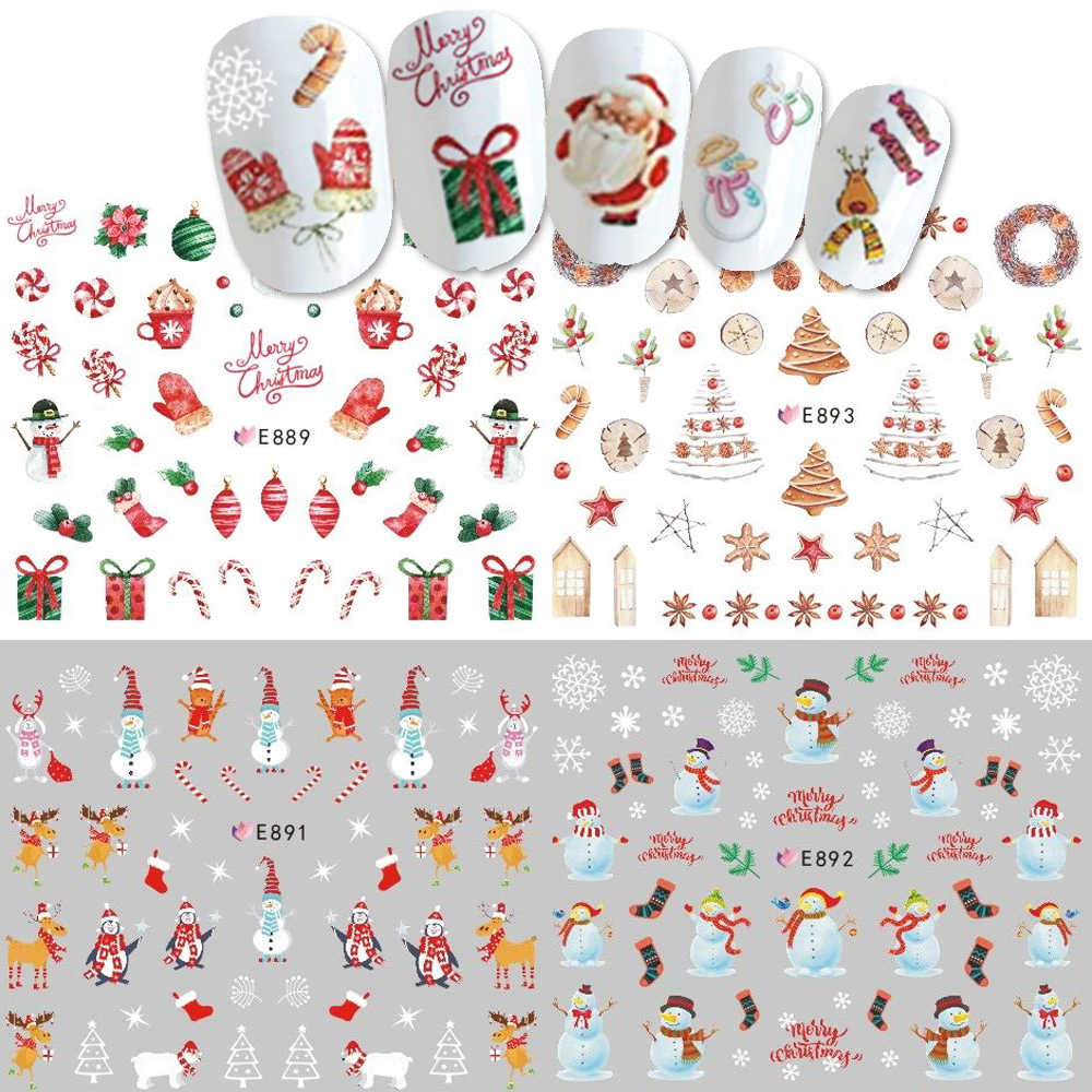 1pcs 3D Nail Stickers Art Christmas Decals Snowman Nail Wraps Snowflakes Adhesive Slider Manicure Decoration Tip Tool BEE886-896