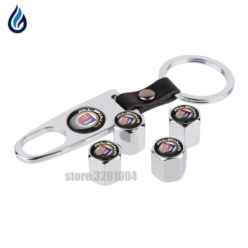 Car Styling Wheel Tire Valve Stems Caps With Keychain For BMW AlPINA Logo E46 E39 E36 E60 E90 F30 X5 E53 F20 E30 F10 X5 E70 E34