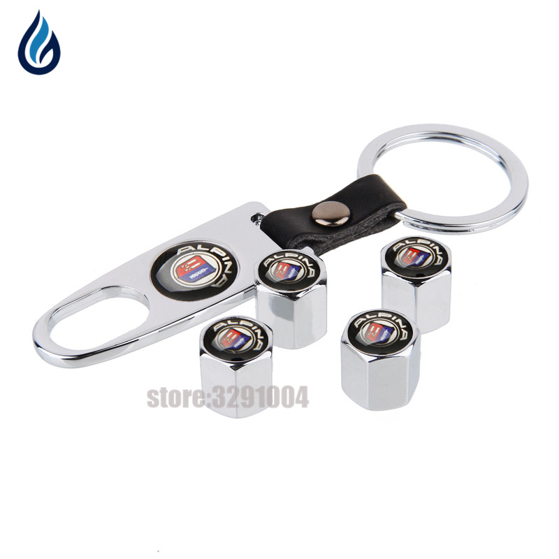 Car Styling Wheel Tire Valve Stems Caps With Keychain For BMW AlPINA Logo E46 E39 E36 E60 E90 F30 X5 E53 F20 E30 F10 X5 E70 E34 image