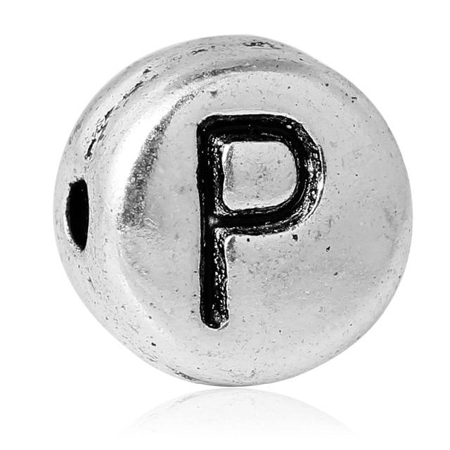 Круглые бусины-разделители O to Z для букв алфавита/букв около 7 мм (2/8 дюйма) диаметром, отверстие около 1,2 мм, 100 шт.