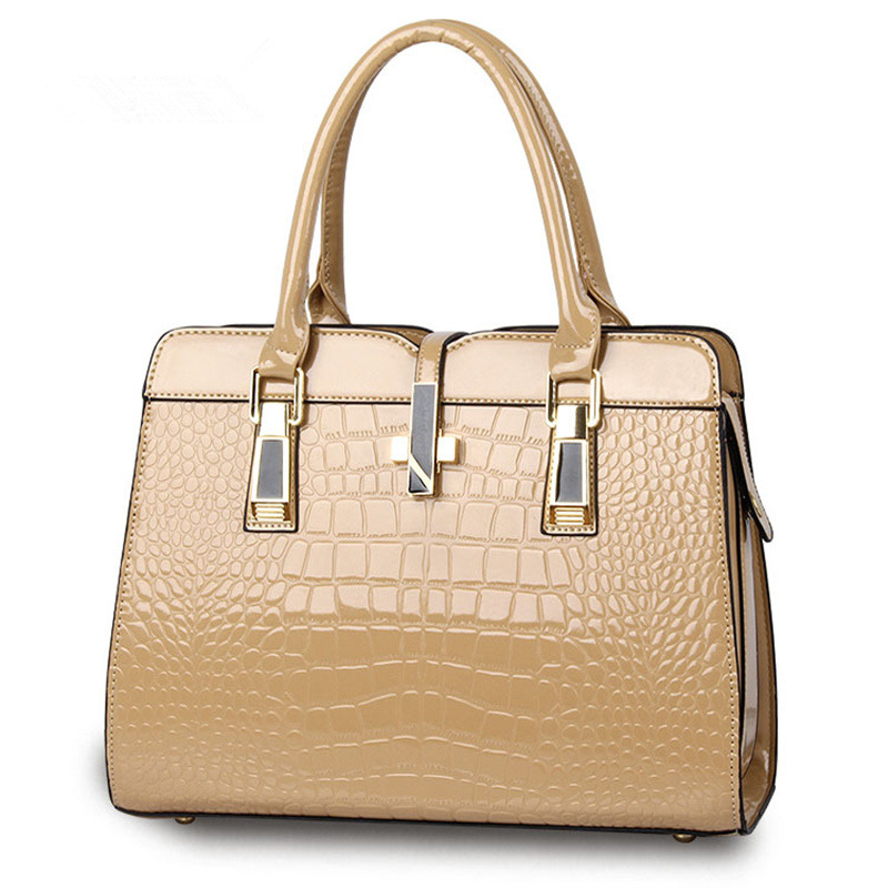 Fashion Khaki PU Crocodile Pattern Women Handbag Casual Office Lady Shoulder Bag Crosss Decoration