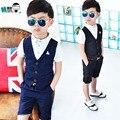 Meninos Conjuntos de Roupas Conjunto Blazer Criança Estilo Inglaterra Camisa + Calças 3-10y Crianças Único Breasted Outwear Ternos Do Casamento Para Meninos EB51