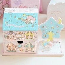 Оригинальная японская мультяшная маленькая Две звезды деревянная коробка косметичка комплект туалетный ящик для хранения кукол прикрепленное изображение подарки для девочек